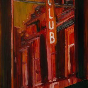 View - Club, 20 x 17 cm, oil on perspex on wood, 2020