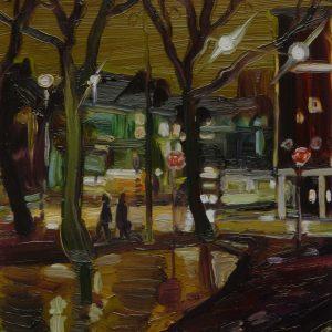 Dark Days # 3, 20 x 17 cm, oil on perspex on wood, 2020