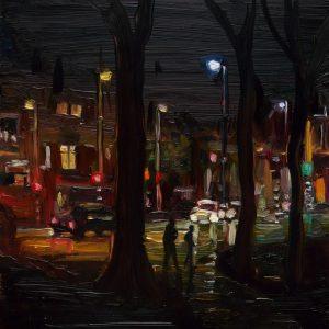 Dark Days # 10, 20 x 17 cm, oil on perspex on wood, 2020