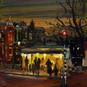 Dark Days # 6, 20 x 17 cm, oil on perspex on wood, 2020