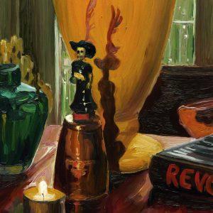 Dark Days # 9, 20 x 17 cm, oil on perspex on wood, 2020