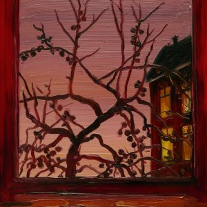 View - Red Window, 20 x 17 cm, oil on perspex on wood, 2020