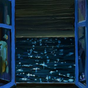 View - Glitterzee, 20 x 17 cm, oil on perspex on wood, 2020