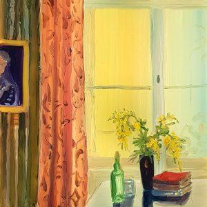 Window - Mimosa, 20 x 17 cm, oil on perspex on wood, 2021