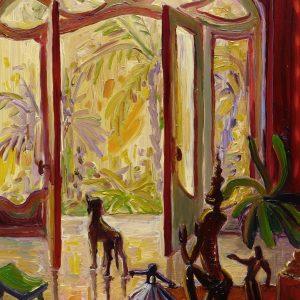 View - Mediterranean, 20 x 17 cm, oil on perspex on wood, 2021