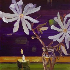 Magnolia, 20 x 17 cm, oil on perspex on wood, 2021