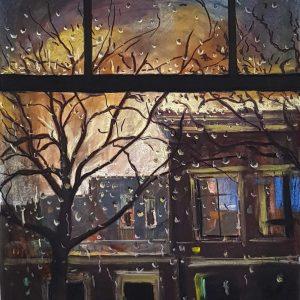 View - Evening Rain, ink, pastel, chalk on paper, 60 x 48 cm, 2021