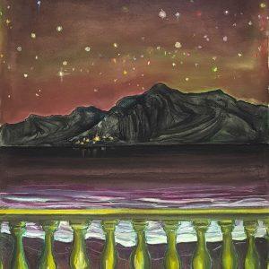 View - Green Balcony, gouache, pastel, chalk on paper, 60 x 48 cm, 2021