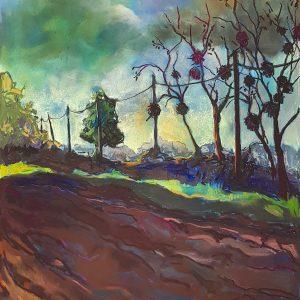 Country Lane, gouache, pastel, chalk on paper, 60 x 48 cm, 2021