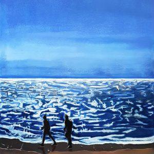 Sea - Walk, gouache, pastel, chalk on paper, 60 x 48 cm, 2021