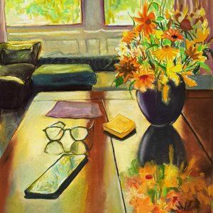 Summer Light - Table, gouache, pastel, chalk on paper, 60 x 48 cm, 2021