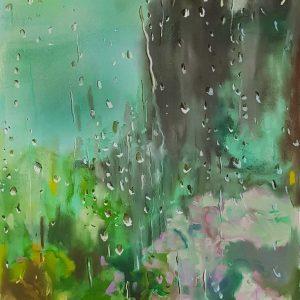 Rainy Day - Summer Garden, acrylic, pastel, chalk on paper, 60 x 48 cm, 2021