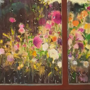 Rainy Day - Dahlias, acrylic, pastel, chalk on paper, 60 x 48 cm, 2021