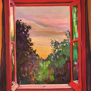 View - Red Window, gouache, pastel, chalk on paper, 60 x 48 cm, 2021