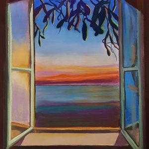 View - Atlantic, gouache, pastel, chalk on paper, 60 x 48 cm, 2021