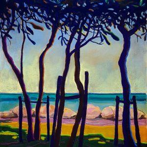 Dark Trees - Atlantic, gouache, pastel, chalk on paper, 60 x 48 cm, 2021