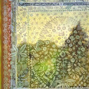 View - Lace Curtain, gouache, pastel, chalk on paper, 60 x 48 cm, 2021