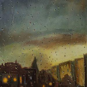 Rainy Day - City Lights, pastel on paper, 60 x 48 cm, 2021
