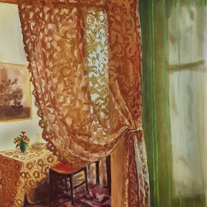Interior - Curtain, pastel on paper, 60 x 48 cm, 2021