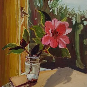 View - Camellia, 20 x 17 cm, oil on perspex on wood, 2021