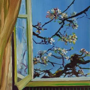 View - Spring, 20 x 17 cm, oil on perspex on wood, 2021