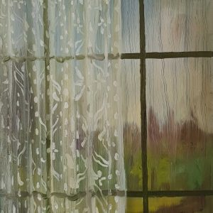 View - Rainy Day # 8, 20 x 17 cm, oil on perspex on wood, 2021