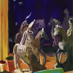 Nightview - Equestrian, 20 x 17 cm, oil on perspex on wood, 2021