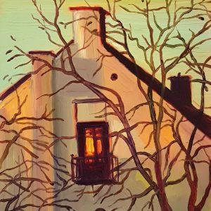 House, 20 x 17 cm, oil on perspex on wood, 2021
