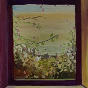 View - Spring Garden, 20 x 17 cm, oil on perspex on wood, 2021