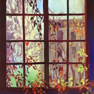Window - Bush, 20 x 17 cm, oil on perspex on wood, 2021