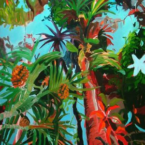 Leaning backwards, 220 x 180 cm, oil on canvas, 2005