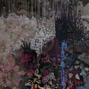 Pique dame # 2, 145 x 145 cm, mixed media on canvas, 2008