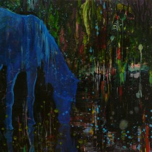 Blue mustang, 115 x 190 cm, oil on canvas, 2008