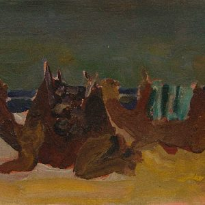 Essouiera camels # 1, 21 x 29,6 cm cm, acrylic and sand on paper, 2008
