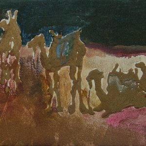 Essouiera camels # 2, 21 x 29,6 cm cm, acrylic and sand on canvas , 2008