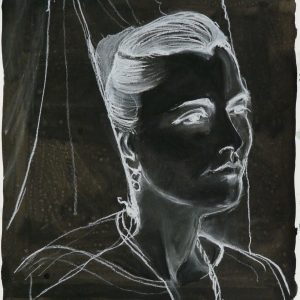 The veiled # 4 (Mantilla), 48 x 32 cm, ink, black and white chalk on paper, 2010