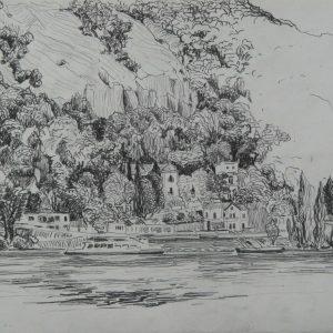 Danube riverbank Visegrád, 24 x 32 cm, pencil on paper, 2011