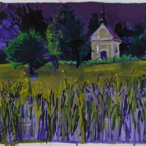 Nagymaros field, 32 x 48 cm, acrylic on paper, 2011