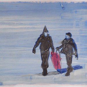 Snowmen # 3, 29,5 x 41 cm, acrylic and oil on paper, 2013