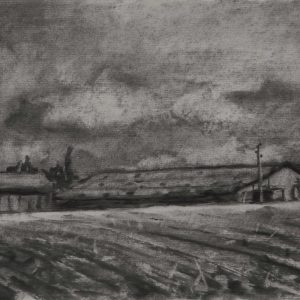 Schuur, 21 x 30 cm, charcoal on paper, 2015