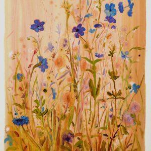 Bermbloemen # 10, 50 x 35 cm, oil on paper, 2016