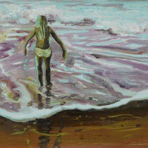 Vloedlijn # 5, 25 x 50 cm, oil on paper, 2016