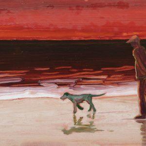 Vloedlijn # 6, 25 x 50 cm, oil on paper, 2016
