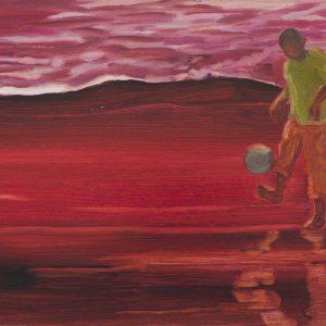 Vloedlijn # 7 (Balletje), 25 x 50 cm, oil on paper, 2016