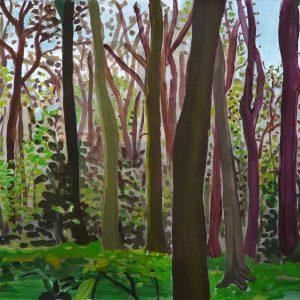 Voorjaar (Haarlemmerhout), 25 x 50 cm, acrylic on paper, 2012