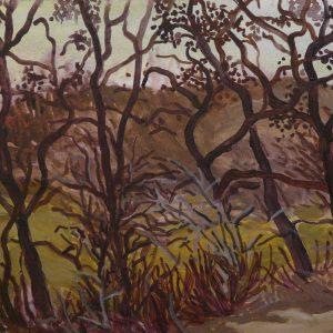 Elzenbosje (Erebegraafplaats), 25 x 40 cm, acrylic on paper, 2017