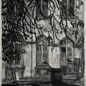 Oliedrum # 2 - Brouwerij Feys, 48 x 37 cm, charcoal and conté on paper, 2017