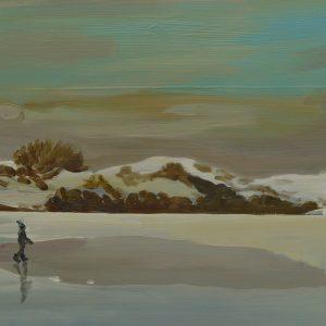 Duinen - Sneeuw, 25,5 x 38,5 cm, oil on perspex, 2019