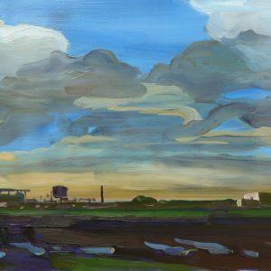 Laagland - Blokkendozen, 25,5 x 38,5 cm, oil on perspex, 2019