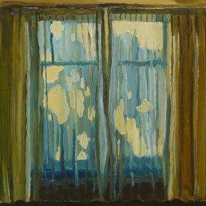 Curtain, 20 x 17 cm, oil on perspex on wood, 2020